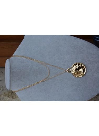 Stoneage Zincirli Madalyon Kolye Altın Kaplama Altın